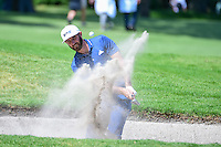 Dustin Johnson (USA) hits from the trap on 6 during round 2 of the World Golf Championships, Mexico, Club De Golf Chapultepec, Mexico City, Mexico. 3/3/2017.<br /> Picture: Golffile | Ken Murray<br /> <br /> <br /> All photo usage must carry mandatory copyright credit (&copy; Golffile | Ken Murray)