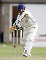 Dhiren de Silva bats for Harrow during the Middlesex County Cricket League Division Two game between Harrow St Mary's and Shepherds Bush at<br /> Harrow on Sat July 19, 2014