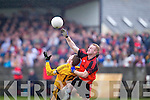 Jason Wren(7) of Tarbert beats Listowel Emmets Conor Cox(12) in the high ball in the North Kerry Senior Football Final held last Sunday in Bob Stack Park, Ballybunion.