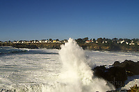 A wave crashing at Big River, with the village of Mendocino in the Background, mendocino California