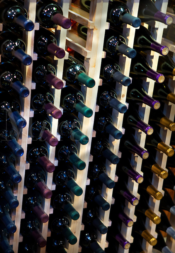 Fruit WInes on bottle rack