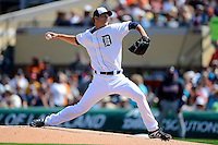 Detroit Tigers starting pitcher Rick Porcello #21 delivers a pitch during a Spring Training game against the Atlanta Braves at Joker Marchant Stadium on February 27, 2013 in Lakeland, Florida.  Atlanta defeated Detroit 5-3.  (Mike Janes/Four Seam Images)