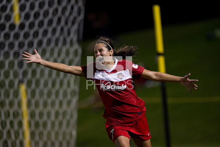 Lupita Worbis (7) of the Washington Spirit celebrates her goal during a game at the Maryland SoccerPlex in Boyds, MD.