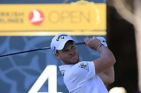 Danny Willett (ENG) tees off the 4th tee during Saturday's Round 3 of the 2018 Turkish Airlines Open hosted by Regnum Carya Golf &amp; Spa Resort, Antalya, Turkey. 3rd November 2018.<br /> Picture: Eoin Clarke | Golffile<br /> <br /> <br /> All photos usage must carry mandatory copyright credit (&copy; Golffile | Eoin Clarke)