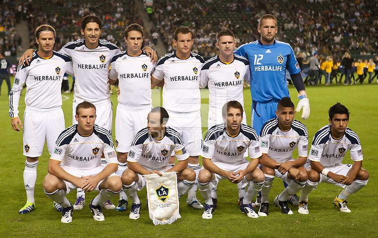 CARSON, CA - November 3, 2011: LA Galaxy starting line up for the match between LA Galaxy and NY Red Bulls at the Home Depot Center in Carson, California. Final score LA Galaxy 2, NY Red Bulls 1.