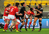 Elissa Alarie is scragged during the 2017 International Women's Rugby Series rugby match between the NZ Black Ferns and Canada at Westpac Stadium in Wellington, New Zealand on Friday, 9 June 2017. Photo: Dave Lintott / lintottphoto.co.nz