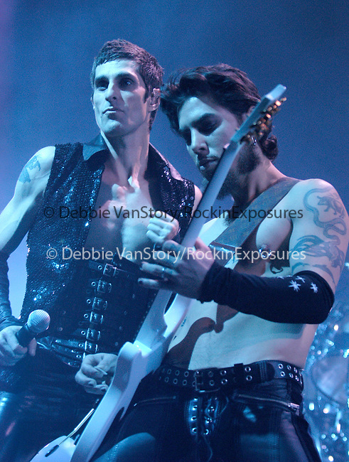 :Perry Farrell,Dave Navarro of Janes Addiction performs at the KROQ Almost Acoustic Christmas 2003 Concert held at Universal Ampitheatre in Universal City on December 14,2003.                                                                            Copyright 2003 by RockinExposures
