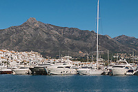 Motor yachts, marina, Puerto Banus, Marbella, Malaga, Andalusia, Spain, November, 2016, 201611073038<br />