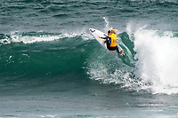MARGARET RIVER, Western Australia/AUS (Saturday, April 14, 2018) Stephanie Gilmore (AUS) - Stop No. 3 on the World Surf League (WSL) Championship Tour, the Margaret River Pro, continued today with the remaining heats of men&rsquo;s Round 1 and women&rsquo;s Round 1 in heavy four-to-six foot (1.2 - 1.8 metre) waves at North Point.<br /> <br /> North Point, the backup site known for its intense, barreling waves, hosted the world&rsquo;s best female CT surfers for the first time in history today. Despite the slower and more challenging conditions, the women dominated the day, including the highest single-wave scores of the event from Tatiana Weston-Webb (HAW) and Carissa Moore (HAW).  <br /> <br /> 2012 WSL Champion Joel Parkinson (AUS) beat Michel Bourez (PYF) and Patrick Gudauskas (USA) to close out the men&rsquo;s competition in Heat 12. Parkinson&rsquo;s heat total of a 10.34 was the highest of the men's morning as conditions slowed over the low tide, showing experience pays at the elite level.Photo: joliphotos.com