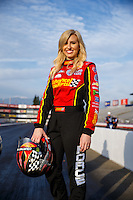Feb 8, 2017; Pomona, CA, USA; NHRA funny car driver Courtney Force during media day at Auto Club Raceway at Pomona. Mandatory Credit: Mark J. Rebilas-USA TODAY Sports
