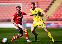Fleetwood Town's Harry Souttar vies for possession with Barnsley's Cauley Woodrow<br /> <br /> Photographer Richard Martin-Roberts/CameraSport<br /> <br /> The EFL Sky Bet League One - Barnsley v Fleetwood Town - Saturday 13th April 2019 - Oakwell - Barnsley<br /> <br /> World Copyright © 2019 CameraSport. All rights reserved. 43 Linden Ave. Countesthorpe. Leicester. England. LE8 5PG - Tel: +44 (0) 116 277 4147 - admin@camerasport.com - www.camerasport.com