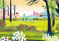 Tranquil rural landscape with houses, trees and flowers ExclusiveImage