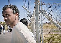 Reception center for migrants in Mineo, asylum seekers trapped in the center in Mineo.<br /> CARA di Mineo, Catania:  richiedenti asilo vivono nell'assoluta incertezza del loro destino.