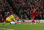 Ederson of Manchester City saves a shot by Roberto Firmino of Liverpool during the Champions League Quarter Final 1st Leg, match at Anfield Stadium, Liverpool. Picture date: 4th April 2018. Picture credit should read: Simon Bellis/Sportimage