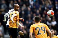 1st March 2020; Tottenham Hotspur Stadium, London, England; English Premier League Football, Tottenham Hotspur versus Wolverhampton Wanderers; Lucas Moura of Tottenham Hotspur heads the ball