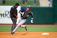 San Antonio Missions outfielder Travis Jankowski (6) rounds second after hitting a lead off triple during a game against the NW Arkansas Naturals on May 30, 2015 at Arvest Ballpark in Springdale, Arkansas.  San Antonio defeated NW Arkansas 5-2.  (Mike Janes/Four Seam Images)