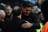 Southampton manager Mauricio Pellegrino and Newcastle United manager Rafa Benítez embrace before kick off during Newcastle United vs Southampton, Premier League Football at St. James' Park on 10th March 2018