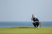 Sebastian Heisele (GER) during the first round of the NBO Open played at Al Mouj Golf, Muscat, Sultanate of Oman. <br /> 15/02/2018.<br /> Picture: Golffile   Phil Inglis<br /> <br /> <br /> All photo usage must carry mandatory copyright credit (&copy; Golffile   Phil Inglis)