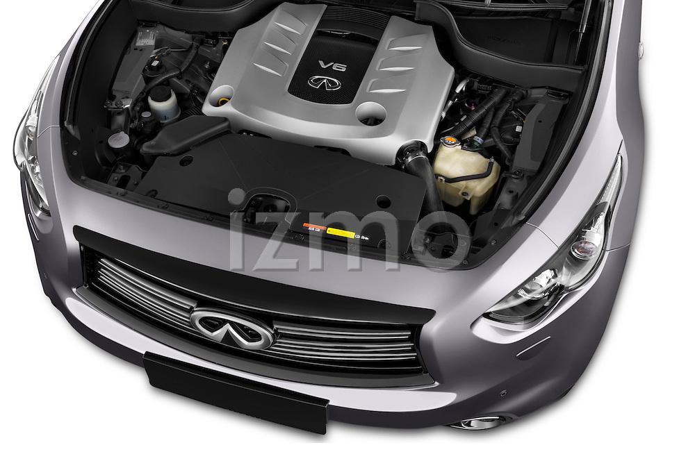 Car Stock 2015 Infiniti QX70 S 5 Door Suv Engine high angle detail view