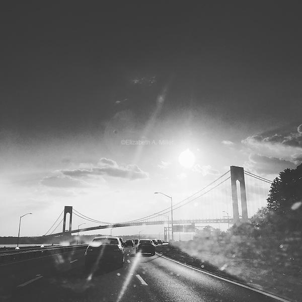 The Verrazano–Narrows Bridge at sunset in Brooklyn, New York on May 28, 2016.