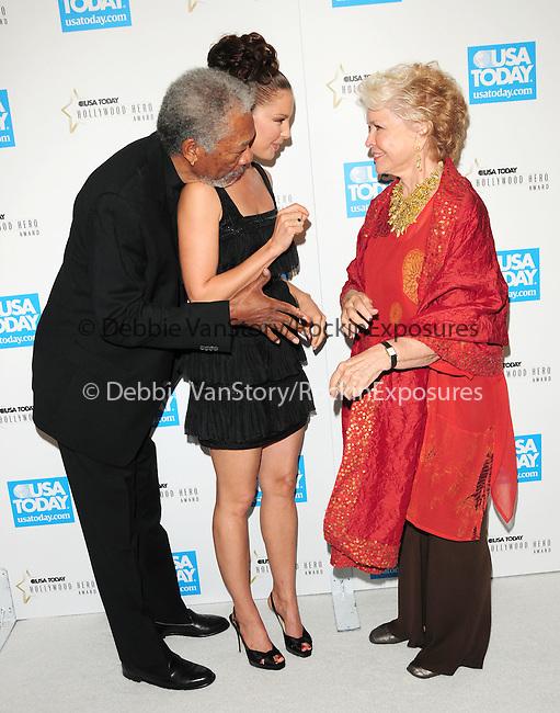 Morgan Freeman,Ashley Judd & Ellen Burstyn at The 4th annual USA TODAY Hollywood Hero Award Gala honoring Ashley Judd held at The Montage Beverly Hills in Beverly Hills, California on November 10,2009                                                                   Copyright 2009 DVS / RockinExposures