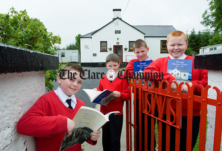 The last pupils to attend Scropul NS before its closure this year; Dean Downes, David Montgomery, Damien Lynch, and Thomas Pilkington with the new book written to mark the school's closure; Scropul NS 1860-2012. Photograph by John Kelly.