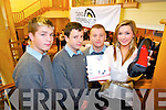 Tara Haughton pictured with Ryan Dowling, Tim Dennehy and Alan Counihan from CBS The Green spoke to students about how she managed to break into the markets at home and abroad with her concept for designer looking shoes at the Young Entrepreneur Blue Sky Day in the Brandon Hotel on Friday.