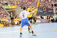 Alexander Peterson (Löwen) gegen Torsten Jansen (HSV) - Tag des Handball, Rhein-Neckar Löwen vs. Hamburger SV, Commerzbank Arena