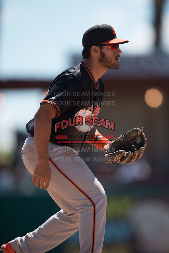 San Jose Giants third baseman David Villar (28) during a California League game against the Stockton Ports on April 9, 2019 in Stockton, California. San Jose defeated Stockton 4-3. (Zachary Lucy/Four Seam Images)