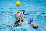 INDIANAPOLIS, IN - MAY 14: Jamie Neushul (8) of Stanford University in action against Kelsey O'Brien (11) of UCLA during the Division I Women's Water Polo Championship held at the IU Natatorium-IUPUI Campus on May 14, 2017 in Indianapolis, Indiana. Stanford edges UCLA, 8-7, to win fifth women's water polo title in the past seven years. (Photo by Joe Robbins/NCAA Photos/NCAA Photos via Getty Images)