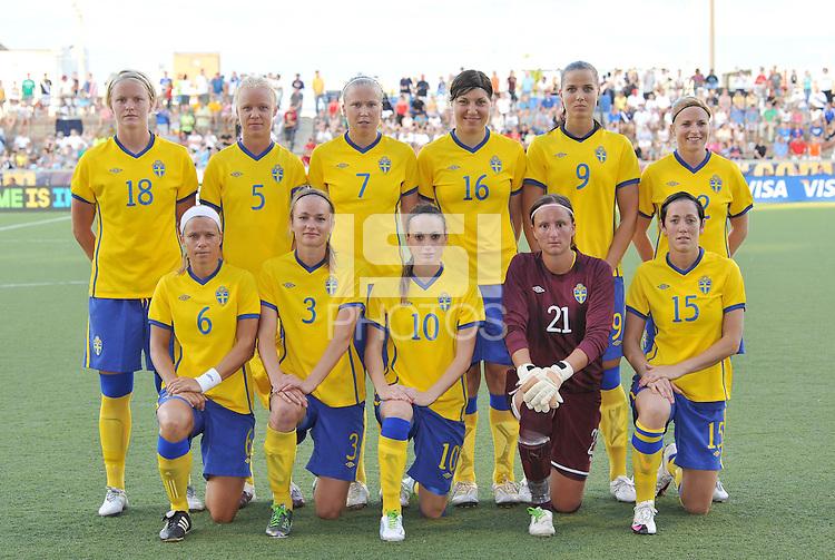 Sweden starting XI..USWNT tied Sweden 1-1 at Morison Stadium, Nebraska.