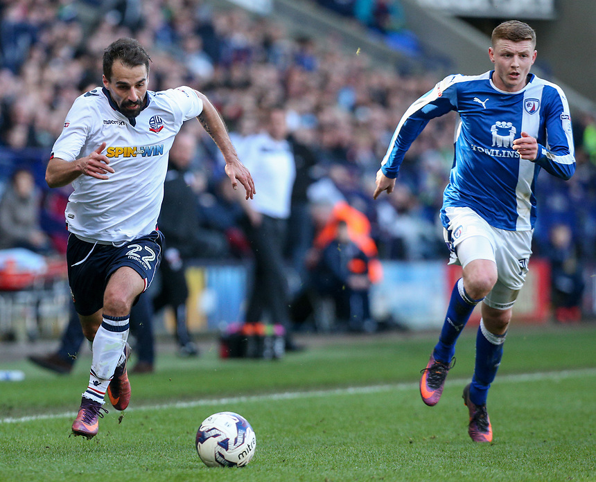 Bolton Wanderers' Filipe Morais gets away from Chesterfield's Dion Donohue<br /> <br /> Photographer Alex Dodd/CameraSport<br /> <br /> The EFL Sky Bet League One - Bolton Wanderers v Chesterfield - Saturday 1st April 2017 - Macron Stadium - Bolton<br /> <br /> World Copyright &copy; 2017 CameraSport. All rights reserved. 43 Linden Ave. Countesthorpe. Leicester. England. LE8 5PG - Tel: +44 (0) 116 277 4147 - admin@camerasport.com - www.camerasport.com