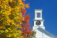 church, fall, steeple, Cabot, VT, Vermont, Cabot United Church and colorful fall foliage against a clear blue sky in the autumn.