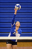 NWA Democrat-Gazette/BEN GOFF @NWABENGOFF<br /> Audrey Herrera of Rogers serves to Siloam Springs on Thursday Aug. 27, 2015 during the match at Rogers High.