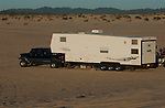 Truck with Fifth wheel toyhauler trailer camping