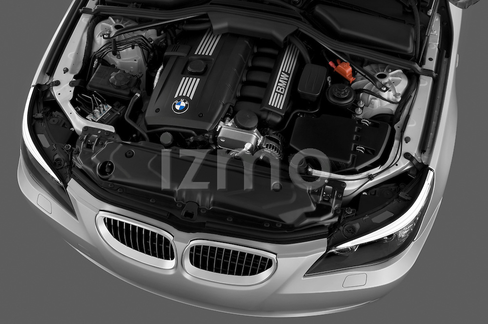 High angle engine detail of a 2009 BMW 5 Series 528.