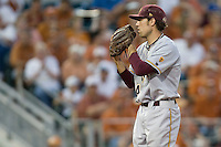 Arizona State Sun Devil pitcher Mitchell Lambson #40 looks in for a sign against the Texas Longhorns in NCAA Tournament Super Regional baseball on June 10, 2011 at Disch Falk Field in Austin, Texas. (Photo by Andrew Woolley / Four Seam Images)