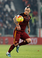 Roma's Radja Nainggolan in action during the Italian Serie A football match between Juventus and Roma at Juventus Stadium.