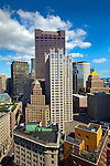 Modern high rise office buildings mix with the classic architecture of downtown Boston, MA.