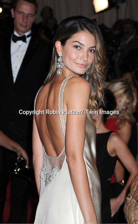 """Lily Aldridge arriving at The Costume Institute Gala Benefit celebriting """"Alexander McQueen: Savage Beauty"""" at The Metropolitan Museum of Art in New York City on May 2, 2011."""