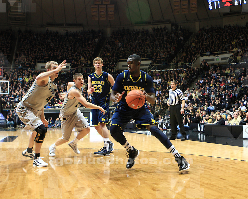 The University of Michigan men's basketball team defeated Purdue, 66-64, at Mackey Arena in West Lafayette, Ind. on January 24, 2012.