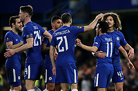Chelsea players congratulate Pedro after scoring their second goal during Chelsea vs Hull City, Emirates FA Cup Football at Stamford Bridge on 16th February 2018