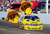 Feb. 18, 2012; Chandler, AZ, USA; NHRA pro stock driver Jeg Coughlin during qualifying for the Arizona Nationals at Firebird International Raceway. Mandatory Credit: Mark J. Rebilas-