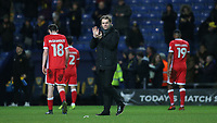 MK Dons Manager, Robbie Neilson applauds the away fans at the end of the match during Oxford United vs MK Dons, Sky Bet EFL League 1 Football at the Kassam Stadium on 1st January 2018