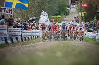 Koppenbergcross 2013<br /> <br /> peloton up the Koppenberg cobbles