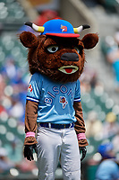 Buffalo Bisons mascot Buster T. Bison watches an on field promotion during an International League game against the Lehigh Valley IronPigs on June 9, 2019 at Sahlen Field in Buffalo, New York.  Lehigh Valley defeated Buffalo 7-6 in 11 innings.  (Mike Janes/Four Seam Images)