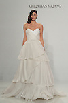 Model walks runway in a pleated strapless gown, from the Christian Siriano for Kleinfeld bridal collection, at Kleinfeld on April 18, 2016 during New York Bridal Fashion Week Spring Summer 2017.