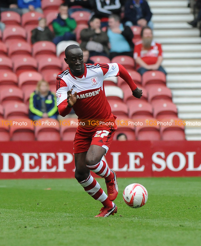 Albert Adomah of Middlesbrough - Middlesbrough vs Derby County - Sky Bet Championship Football at the Riverside Stadium, Middlesbrough - 05/04/14 - MANDATORY CREDIT: Steven White/TGSPHOTO - Self billing applies where appropriate - 0845 094 6026 - contact@tgsphoto.co.uk - NO UNPAID USE