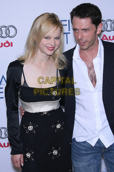 "THORA BIRCH & RAY GOWER.AFI Fest 2006 by Audi Presents ""Dark Corners"" Premiere - Arrivals held at the ArcLight, Hollywood, California, USA,10 November 2006..half length black dress shrug red lipstick .Ref: ADM/ZL.www.capitalpictures.com.sales@capitalpictures.com.©Zach Lipp/AdMedia/Capital Pictures."