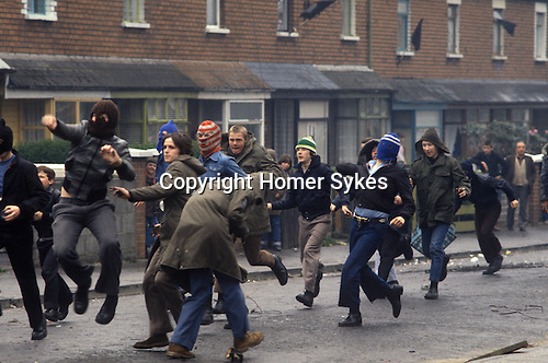 Belfast Northern Ireland. Catholic youths rioting.
